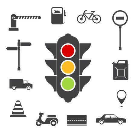 icônes de trafic définies. Essence et la broche, vélo et scooter, boîte et camion, le transport et la barrière, illustration vectorielle