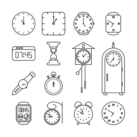 instrument of time: Clock and time vector line icons set. Hour and minute, watch and sandglass illustration