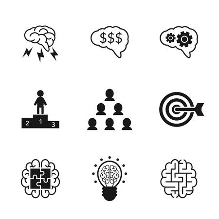 gestion empresarial: Iconos Idea establecen. Estrategia empresarial y símbolos de gestión. Cerebro y dinero, finanzas trabajo en equipo, la mente y las nubes, ilustración vectorial Vectores