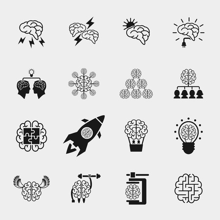 Brainstorming black icons set. Creative brain idea concepts. Thinking efficiency, strong knowledge, vector illustration