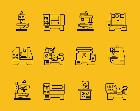 Vector thin line machine tool icons. Technology industry, factory production, manufacturing and milling illustration