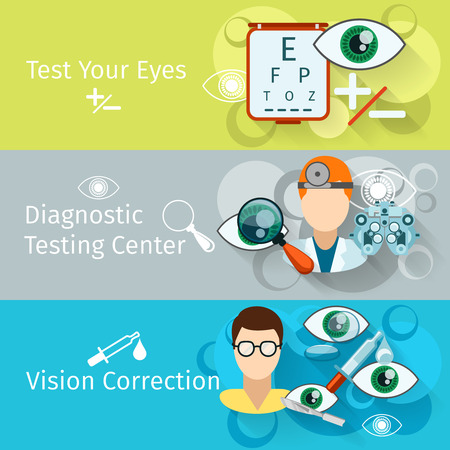 eye exam: Oculist and optometry horizontal banners. Ophthalmology medical, medicine correction test and diagnosis, vector illustration