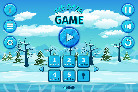 interface: Cartoon winter or arctic landscape with ice, snow and cloudy sky. Game user interface with control elements, buttons, status bar and icons.  Setup and level, title play, vector illustration