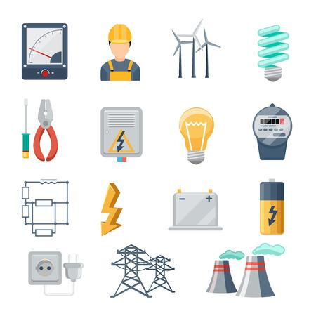 Electricidad y de la industria de energía iconos vectoriales plana establecen. Transformador y el zócalo, enchufe y capacidad, símbolo de la energía, ilustración vectorial