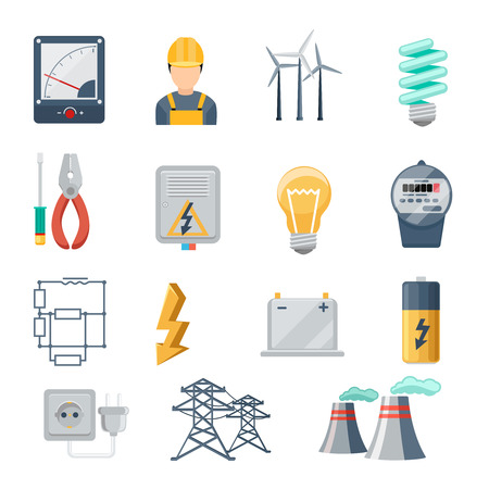 electrical equipment: Electricity and power industry icons flat vector set. Transformer and socket, plug and capacity, energy symbol, vector illustration