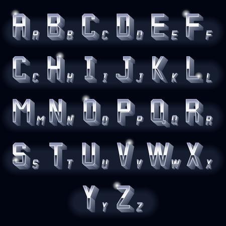 letras cromadas: Letras volumétricas vendimia Metal 3D cromo. Tipografía icono metálico tridimensional, diseño retro. Ilustración vectorial Vectores