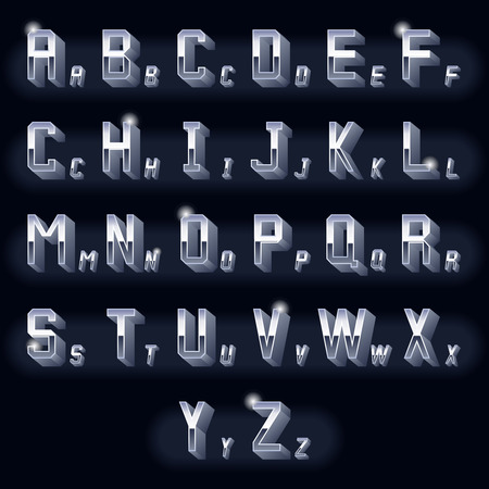 chrome letters: Letras volum�tricas vendimia Metal 3D cromo. Tipograf�a icono met�lico tridimensional, dise�o retro. Ilustraci�n vectorial Vectores