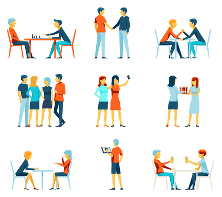 pastime: Friendship and brotherhood flat vector icons set. Friends and friendly relationship symbols. Social pastime, person and society illustration