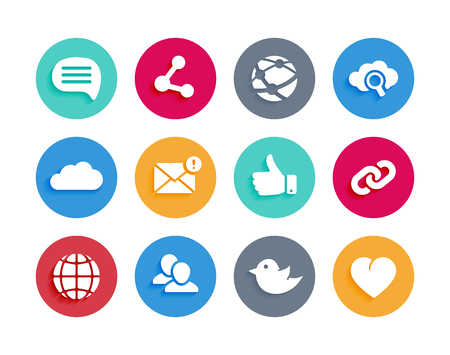 media icons: Internet and social icons in material design style with shadow. Communication media sign or button illustration