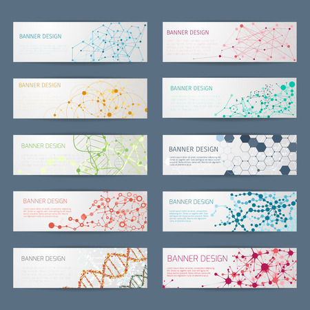 poster designs: Abstract geometric DNA vector banners. Science poster design, structure chemistry, connect nuclear atom illustration