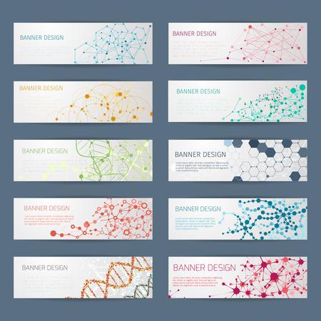 conexiones: Geométricas Banderas abstractas del vector de ADN. Diseño del cartel Ciencia, estructura química, conectar ilustración átomo nuclear
