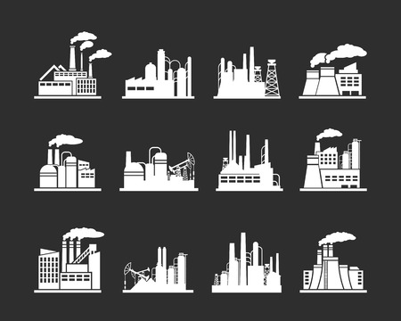 industry: Set of industry manufactory building icons. Plant and factory, power and smoke, oil and energy, nuclear manufacturing station. Vector illustration