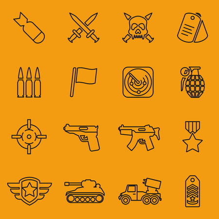 military and war icons: Military vector line icons set. Radar and aim, automatic and award, tank and flag, medallion and knife, sword and missile illustration