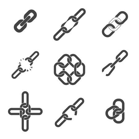 cadena rota: Cadena o enlace iconos conjunto. Segmento roto o cerrado, unión ir unen, componente conecte parte, ilustración vectorial Vectores