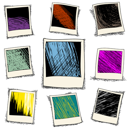 Set of retro photo frame in doodle style. Old template card, instant film drawing, vector illustration Vettoriali