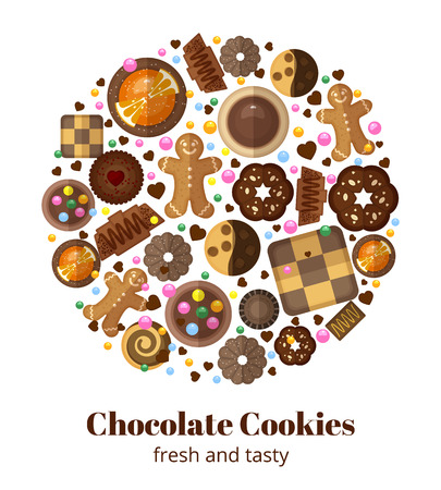 nourishment: Chocolate christmas cookies. Form circle, gingerbread yummy, product and nourishment, vector illustration