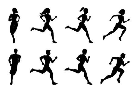 correr: Ejecución de siluetas de personas. Corrida deporte, fitness activo, el ejercicio y la atleta, ilustración vectorial
