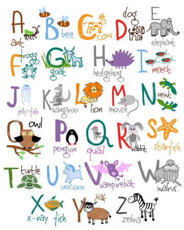 Zoo alphabet. Ant bee cow dog frog hedgehog goat insect jellyfish newt quail starfish. Vector illustration
