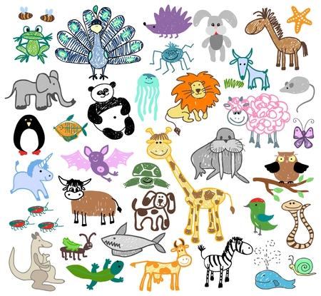 Bambini disegno animali scarabocchiare. Unicorno e pecore, tartarughe e trichechi, cane e lumaca, canguro e balene, mucca e serpente, illustrazione vettoriale Archivio Fotografico - 45734678