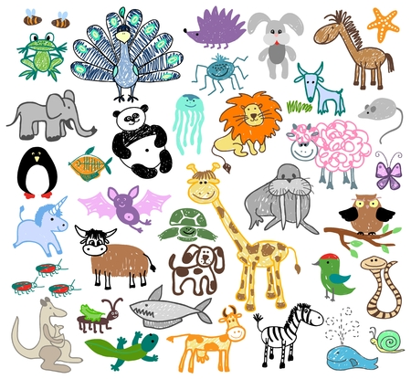 Childrens drawing doodle animals. Unicorn and sheep, turtle and walrus, dog and snail, kangaroo and whale, cow and snake, vector illustration