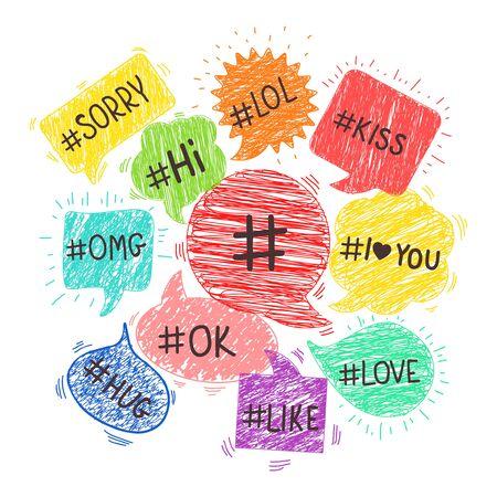 keywords bubble: Speech bubbles with hashtags. Social tag, message internet community, speech web vector illustration