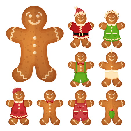 Gingerbread man. Christmas cookie holiday, sweet food, traditional biscuit, vector illustration Çizim