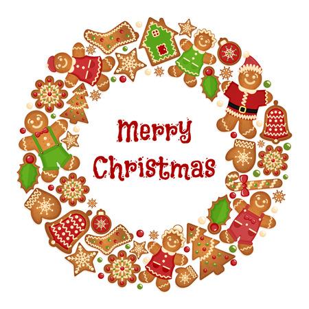 Feiertags-Kranz-Rahmen mit Weihnachten Cookies. Feier-Gruß-Verzierung, Handschuhe und Keks Glocke, Schneeflocke und Baum. Vektor-Illustration