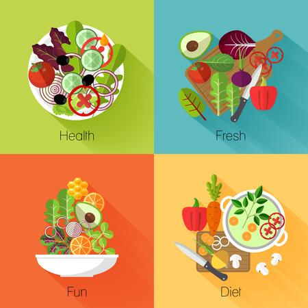 신선한 샐러드 배너입니다. 야채와 아보카도, 제품, 자연, 먹는 양배추와 당근, 비타민 영양 다이어트. 벡터 일러스트 레이 션