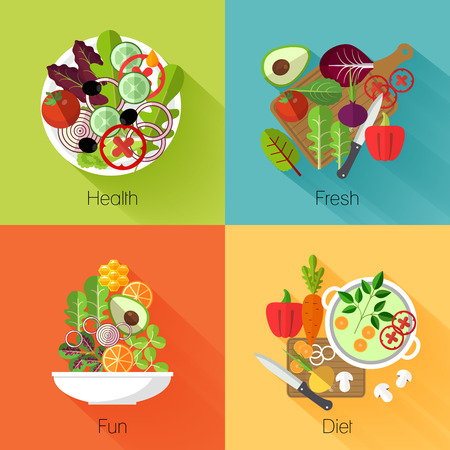 Fresh salad banners. Vegetable and avocado, product natural, eating cabbage and carrot, vitamin nutrition diet. Vector illustration 向量圖像