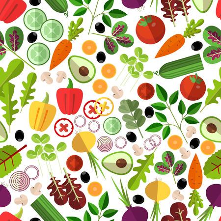 サラダ食材のシームレスなパターン。野菜きのことアボカド、タマネギ、ニンジン、キュウリ、コショウ、ベクトル イラスト