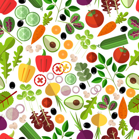 Salad ingredients seamless pattern. Vegetable mushrooms and avocado, onion and carrot, cucumber and pepper, vector illustration