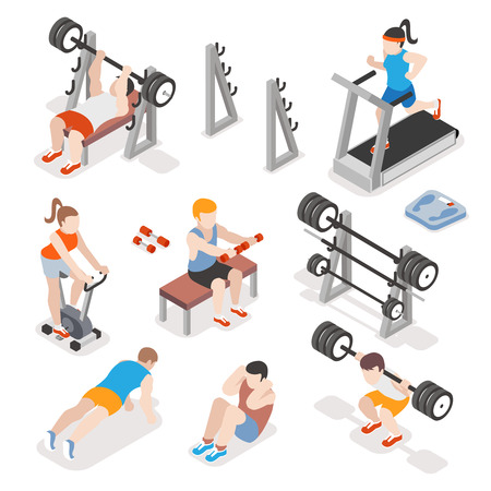 Isometric gym workout flat vector set. Men and women pumping iron illustration. Fitness concepts. Exercise training, strength physical illustration Vectores