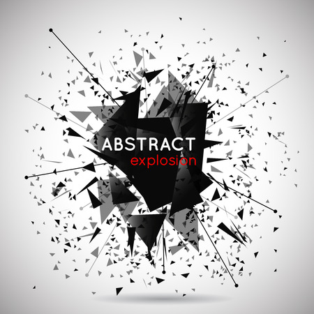 particle: Vector abstract black explosion background. Space and energy, shape and effect, particle and power illustration