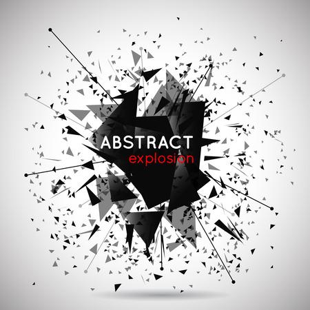 trừu tượng: Vector trừu tượng nổ đen nền. Không gian và năng lượng, hình dạng và hiệu quả, hạt và minh họa sức mạnh