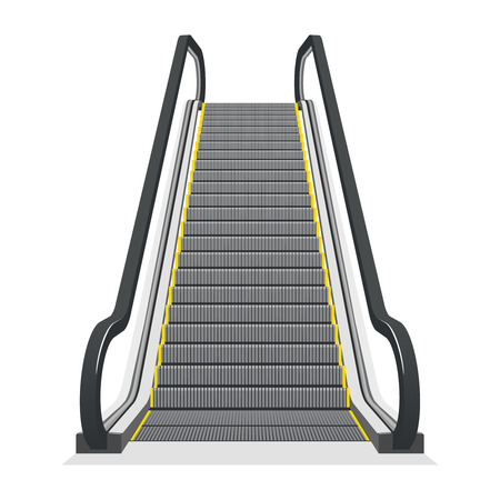 elevator: Escalator isolated on white background. Modern architecture stair, lift and elevator, vector illustration Illustration