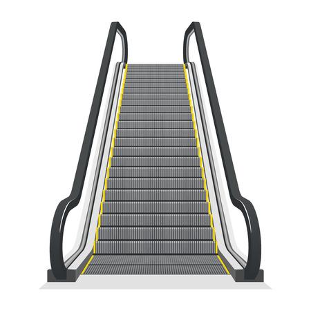 escalera: Escalera mecánica aisladas sobre fondo blanco. Moderno escalera arquitectura, ascensor y ascensor, ilustración vectorial