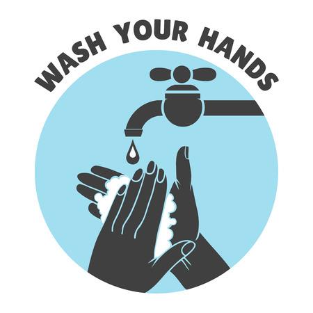aseo: Lávese las manos o la mano segura símbolo de lavado de vectores. Agua y limpia, el baño y la higiene ilustración