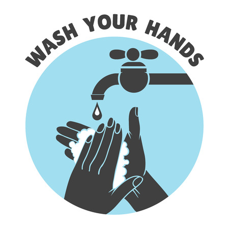 washes: Wash your hands or safe hand washing vector symbol. Water and clean, bathroom and hygiene illustration
