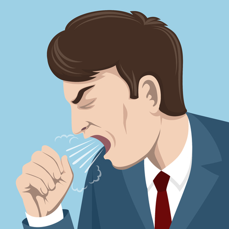 남자의 벡터 일러스트 레이 션 기침. 아픈 사람, 질병 및 감기, 독감 바이러스, 인플루엔자 개념