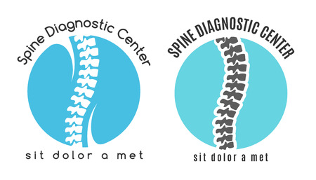 Spine medical diagnostics symbol. Medicine and anatomy, backbone and scoliosis, analysis and research, vector illustration