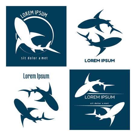 shark fin: Sharks set. Animal hunter emblem, company branding shape, vector illustration