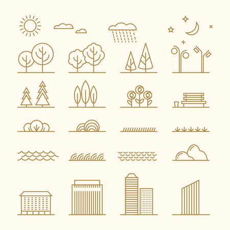 homes exterior: Linear landscape elements vector icons set. Line trees, flowers, bushes, water waves, cloud, stones, grass, plant and stars. Design set graphic outline illustration