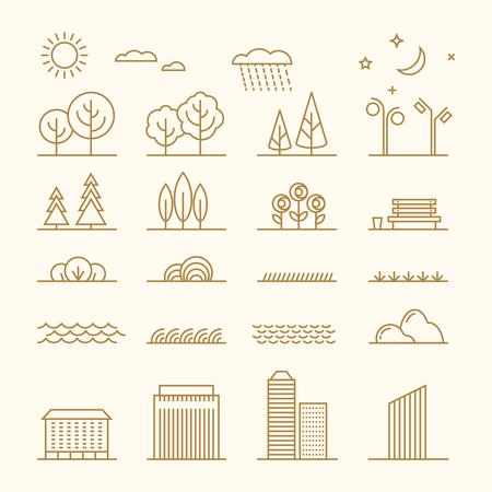 Linear landscape elements vector icons set. Line trees, flowers, bushes, water waves, cloud, stones, grass, plant and stars. Design set graphic outline illustration