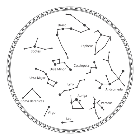 Vector sky map with constellations. Astrology and draco, virgo and andromedia, leo and lynx, auriga and perseus, cassiopeia and cepheus illustration Illustration