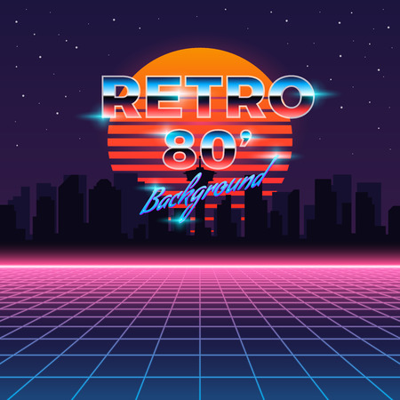 Retro neon abstract Sci-Fi vector background in 80s style. Vintage vibrant geometric illustration