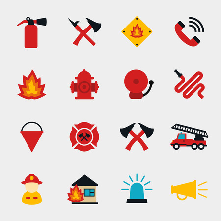 extinguisher: Fire fighter flat icons set. Equipment protection, flame and extinguisher, vector illustration