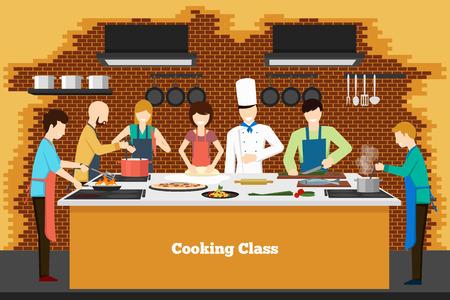 aprendizaje: Clase de cocina en la cocina. Aprender pueblo, enseñando y culinaria, ilustración vectorial Vectores