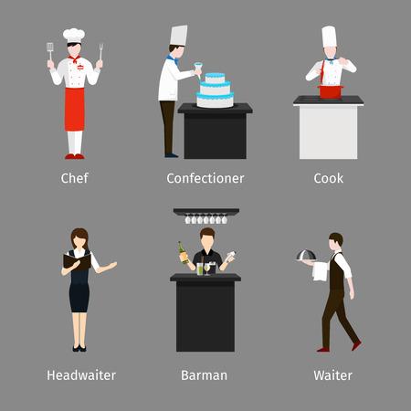 camarero: Cocinero y pastelero, camarero y cocinero. Personal de catering. Empleo y trabajo, persona de barman, ilustraci�n vectorial maitre