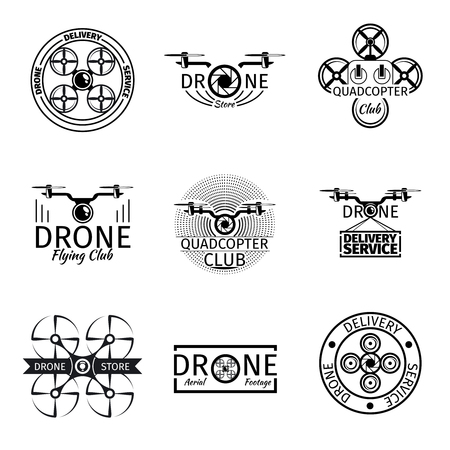 insignia: Aerial drone flying club labels, badges and vector set. Transport technology, quadrocopter air flight illustration Illustration