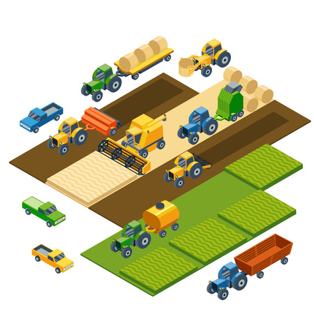 Isometric agricultural equipment, farm tractors, combain, trailers and pickup. Transportation pickup, field nature landscape, harvest and grain, lawn and wheat. Vector illustration